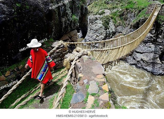 Peru, Cuzco province, Qewaschaka (Keshwa Chaca), Inca rope bridge inscribed in 2013 on the representative list of the Intangible Cultural Heritage of UNESCO