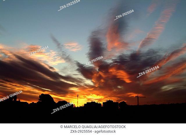Dawn at Sant Just Dervern city skyline. Barcelona province, Catalonia, Spain