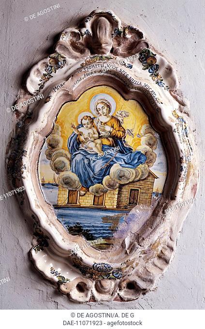 The apparition at the Holy House of Loreto, ex-votive tile, 1765, by Silvio de Martinis, polychrome maiolica, Sant'Eusanio Chapel
