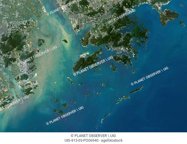 Satellite view of Hong Kong and Macau. This image was compiled from data acquired by Landsat 8 satellite in 2015