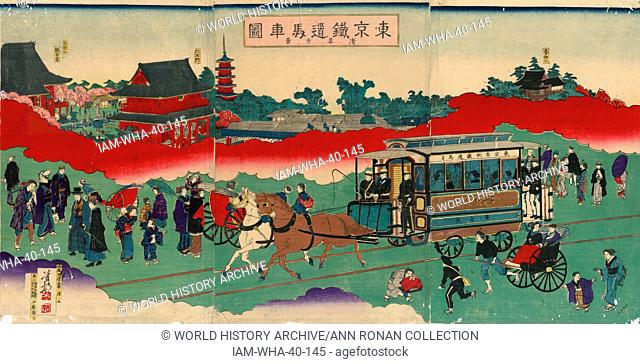 Tokyo tetsudo basha zu sensoji kei (Horse drawn carriage on railroad tracks). Published: 1882. Print shows a western-style horse drawn railroad passenger car...