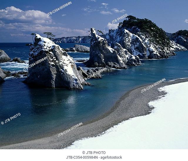 Winter Jodogahama Beach Miyako Rikuchu-Kaigan Iwate Japan