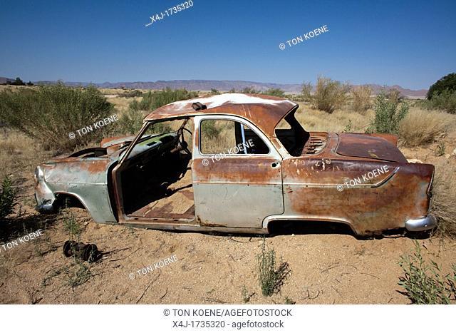 old car wreckage at solitair, namibia