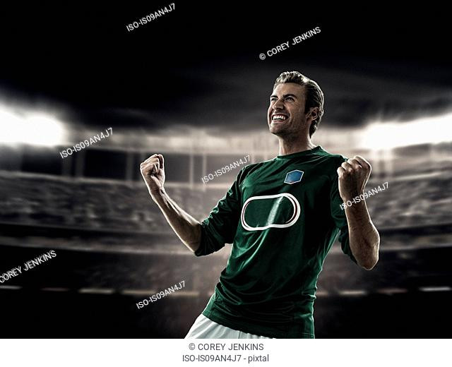 Footballer celebrating goal