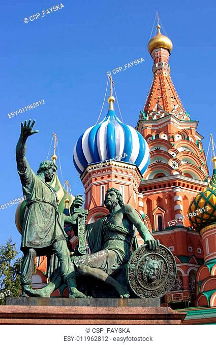 Saint Basil Cathedral and Statue of Minin and Pozharsky in Red Square, Moscow, Russia