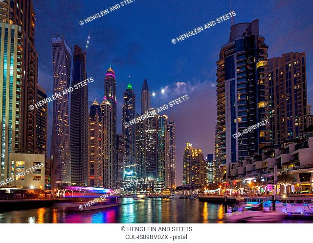 Vibrant nightlife and boats, Dubai Marina, UAE