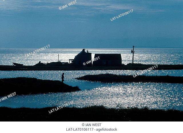Near Blackwaterfoot. Silhouette,sunset. Light on water. House on spit of land. Boat. Person