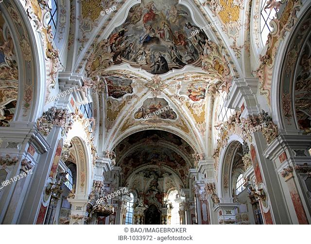Interior of the abbey church of the Neustift Monastery, in Neustift near Brixen, Vahrn municipality in Bolzano-Bozen, Italy, Europe