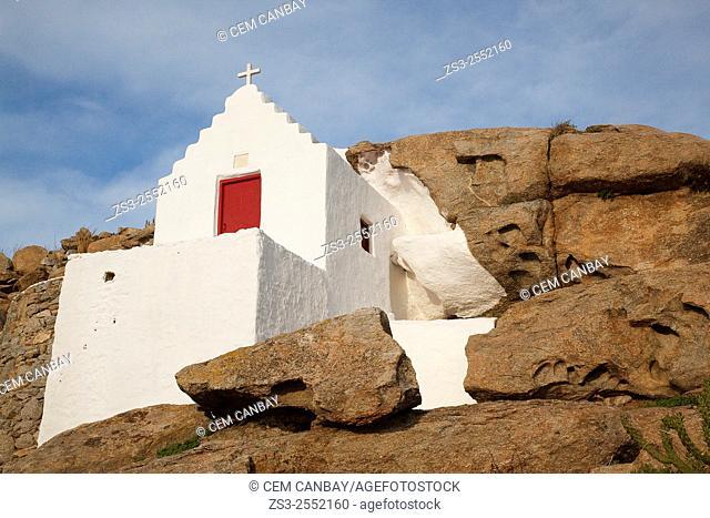 Chapel on the rocks, Mykonos, Cyclades Islands, Greek Islands, Greece, Europe