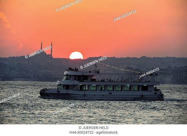 Sunset at Bosporus waterfront, Istanbul, Turkey , Europe