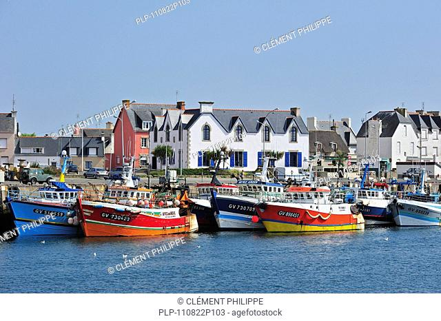 Colourful trawler fishing boats in the Guilvinec port, Brittany, France