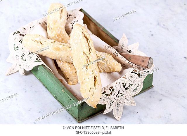 Spelt salt sticks in a wooden box with a doily