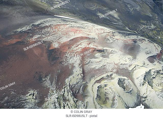 Iceland, red lava north of hekla volcano