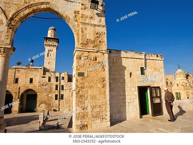 Silsila Minaret and Chain Gate on background, Temple Mount, Old City, Jerusalem, Israel
