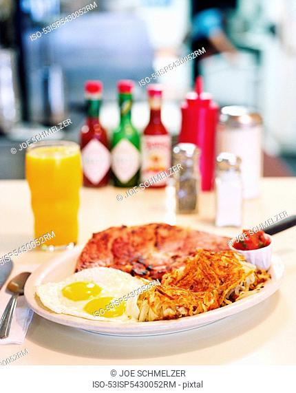 Plate of eggs, steak and hash browns