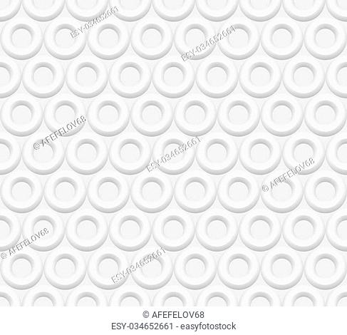 Seamless white abstract background rings, embossed surface, 3D vector EPS8