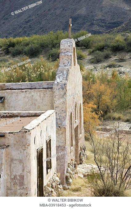 usa, Texas, Lajitas, old church-building, outside-facade, nature