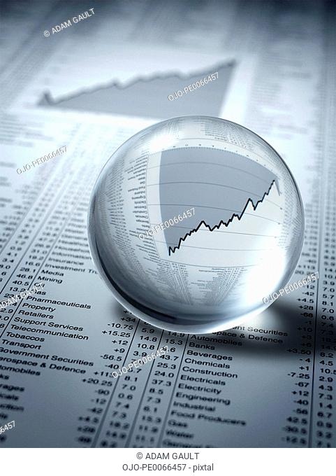 Crystal ball, ascending line graph and share prices