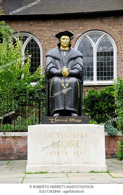 Statue of Sir Thomas More outside Chelsea Old Church in Cheyne Walk, Chelsea, London, England