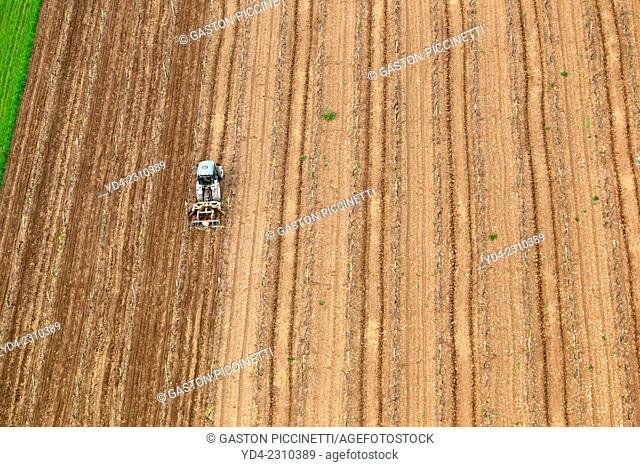 Farm tractor marking in the land, Mallorca, Balearic Island, Spain