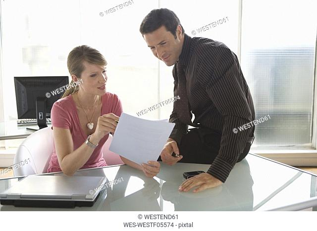 Business woman and man, business talk, teamwork