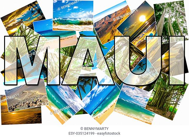 Hawaii pictures collage of different famous locations landmark of Maui island in Hawaii, United States
