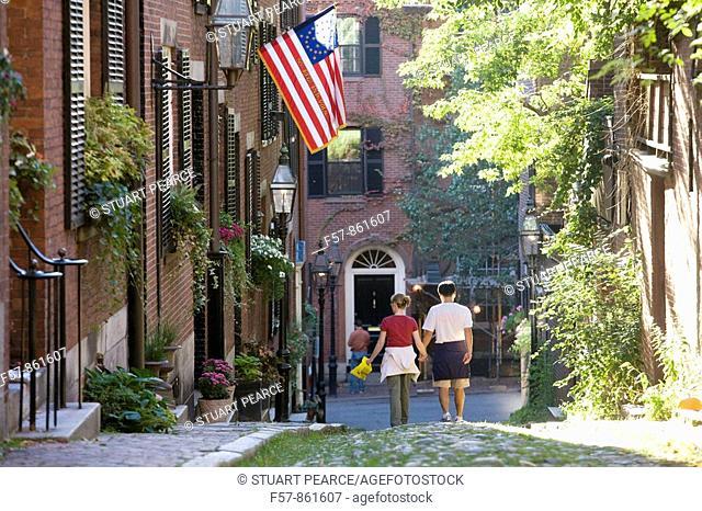 Acorn Street, Beacon Hill, Boston, Massachusetts, USA