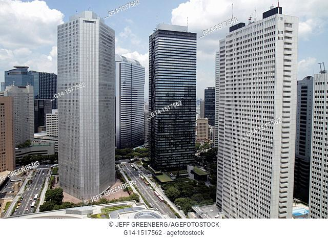 Japan, Tokyo, Shinjuku, skyscrapers, city skyline, Mitsui Building, Sumitomo Building, Keio Plaza Hotel North Tower