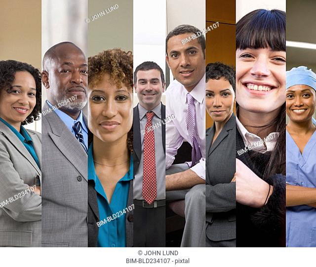 Collage of business people and surgeon