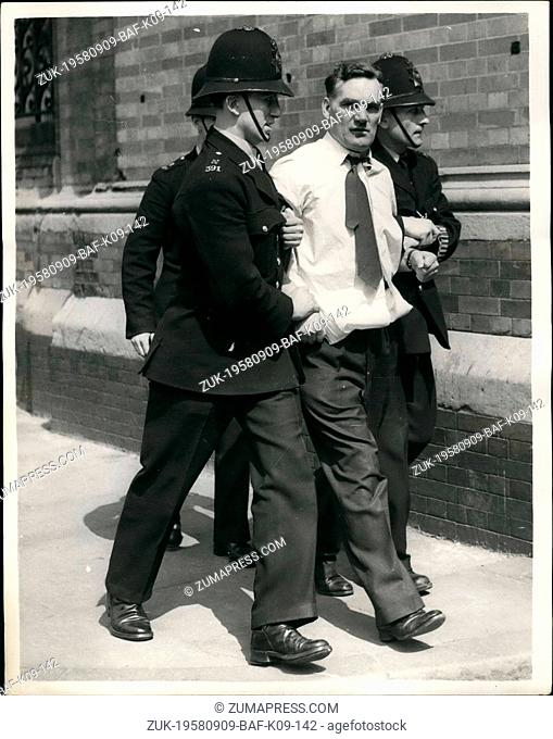 Sep. 09, 1958 - Police break up meeting at St. Pancras town hall. Students today demonstrated outside St. Pancreas Town Hall today - May Day - carrying Union...