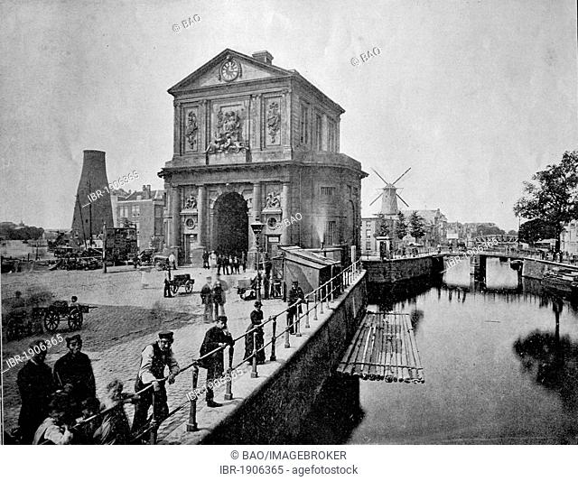 One of the first autotype photographs of the port of Delft, Holland, circa 1880