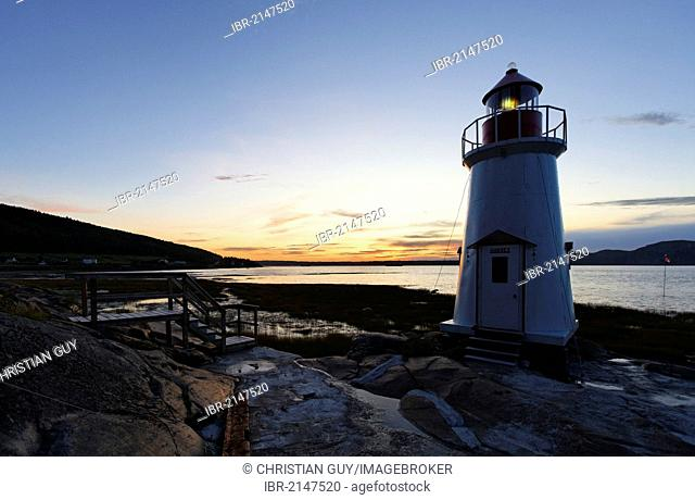 Lighthouse towards La Baie, Saguenay Fjord, St. Lawrence Marine Park, Saguenay-Lac-Saint-Jean region, Quebec, Canada