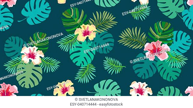 Seamless vector pattern with palm leaves and hibiscus flowers on white background. Design for shirts, dresses, bags and cards