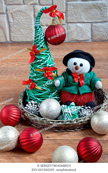 Different decorations for the celebration of the Christmas and New Year. Tradition holidays