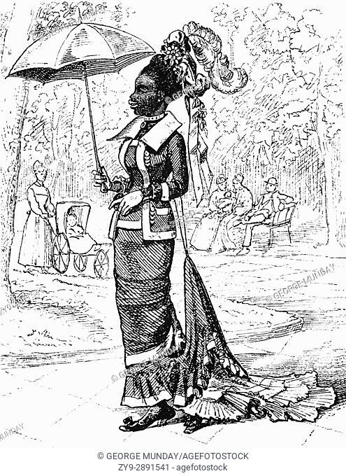 1879: Elegant black woman in New Orleans, Louisiana, United States of America