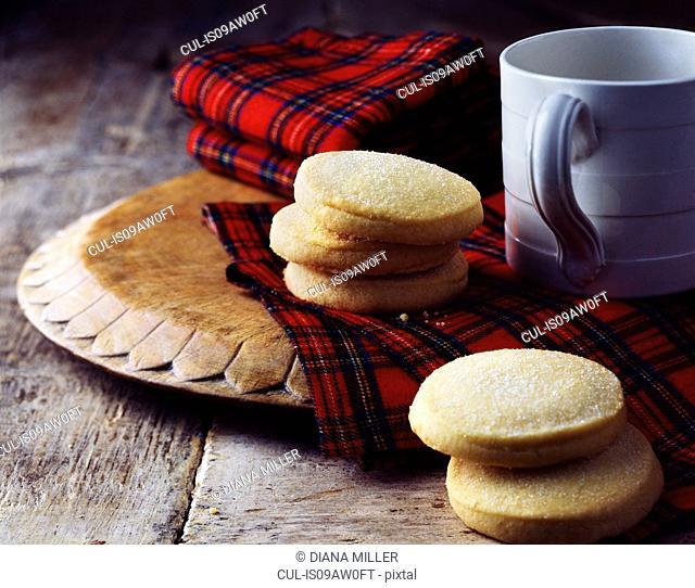 Luxury Scottish all butter shortbread biscuits on tartan tea towel