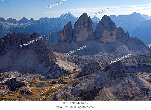 View to Drei Zinnen mountains with Paternkofel, Sexten Dolomites, South Tirol, Northern Italy, Italy