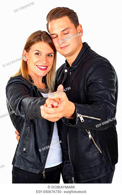 1961d210b Couple black leather jacket woman Stock Photos and Images   age ...