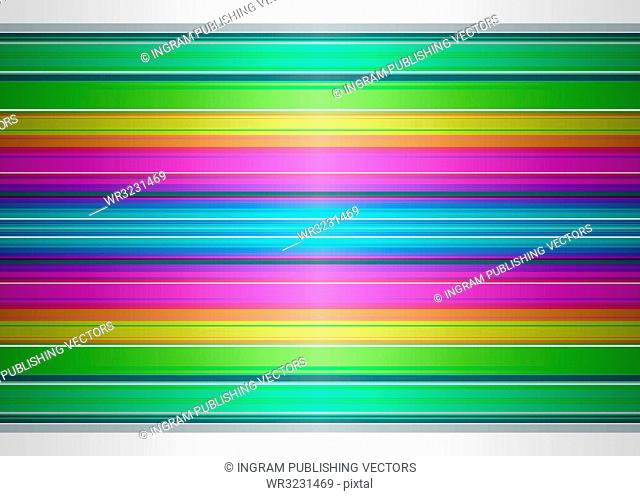 Brightly colored rainbow background with striped ribbon effect