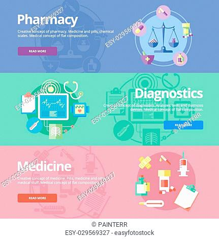 Set of flat design concepts for pharmacy, diagnostics, medicine. Medical concepts for web banners and print materials