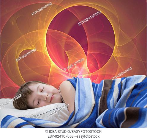 Sleeping teenage girl on red abstract background dream