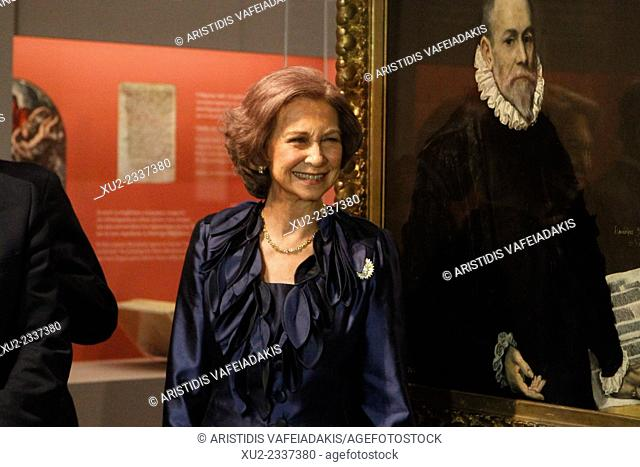 "Queen Sofia of Spain inaugurate the exhibition """"Friends and Patrons of El Greco in Toledo"""" at the Benaki Museum's near Syntagma Square in Athens"
