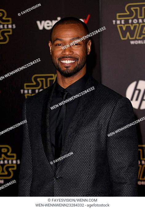 "Premiere Of Walt Disney Pictures And Lucasfilm's """"Star Wars: The Force Awakens"""" Featuring: Isaiah Mustafa Where: Hollywood, California"