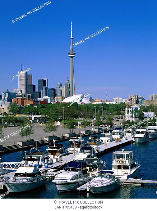 City Skyline & Harbourfront with Boats, Toronto, Ontario, Canada