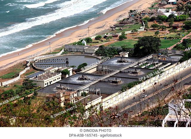 Aerial view of sewage water treatment plant at Vishakhapatnam ; Andhra Pradesh ; India