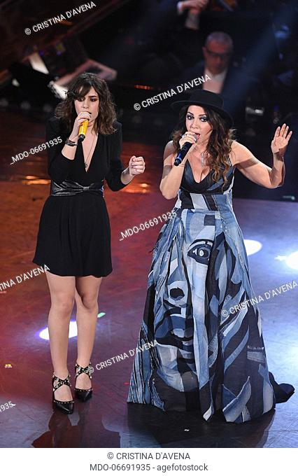 Federica Carta, Cristina D'Avena at the fourth evening of the 69th Sanremo Music Festival. Sanremo (Italy), February 8th, 2019