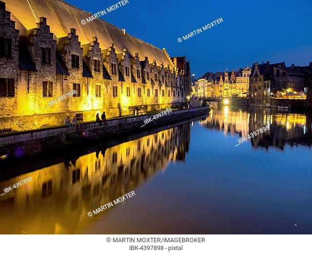 Former meat market, Leie river, Ghent, Flanders, Belgium