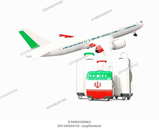 Luggage with flag of iran. Three bags with airplane isolated on white. 3D illustration