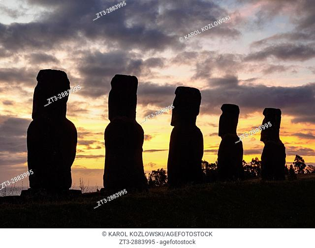 Moais in Ahu Akivi at sunset, Rapa Nui National Park, Easter Island, Chile