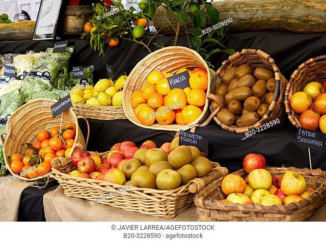 Fruits garden display, folklore fair of Santo Tomas, Donostia, San Sebastian, Gipuzkoa, Basque Country, Spain, Europe
